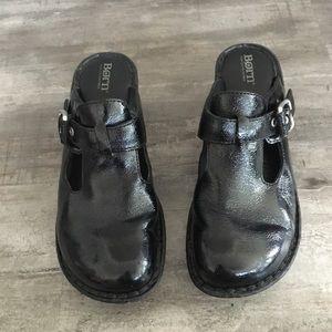 BORN Black Patent Leather Della Buckle Mules Clogs